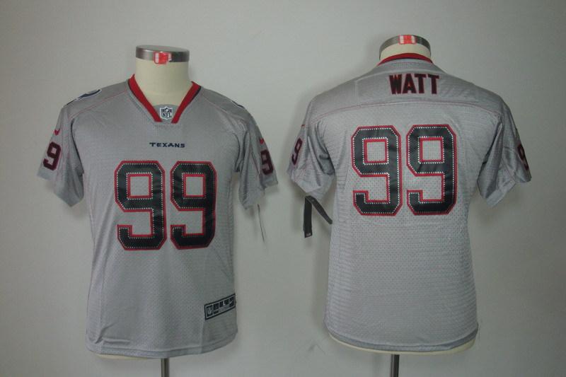 Houston Texans 99 Watt Youth Nike Lights Out Grey Elite Jersey