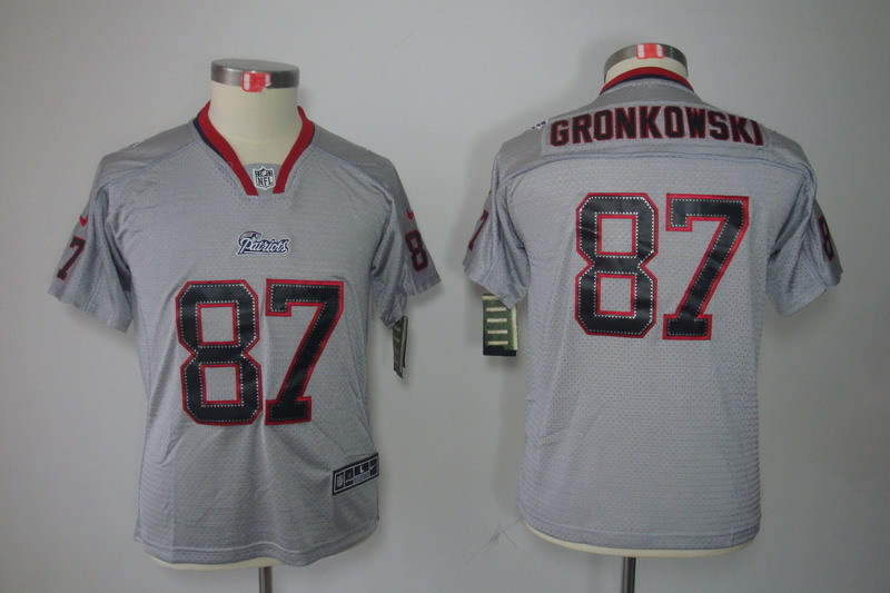 New England Patriots 87 Gronkowski Youth Nike Lights Out Grey Elite Jersey