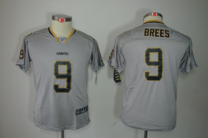 New Orleans Saints 9 Brees Youth Nike Lights Out Grey Elite Jersey