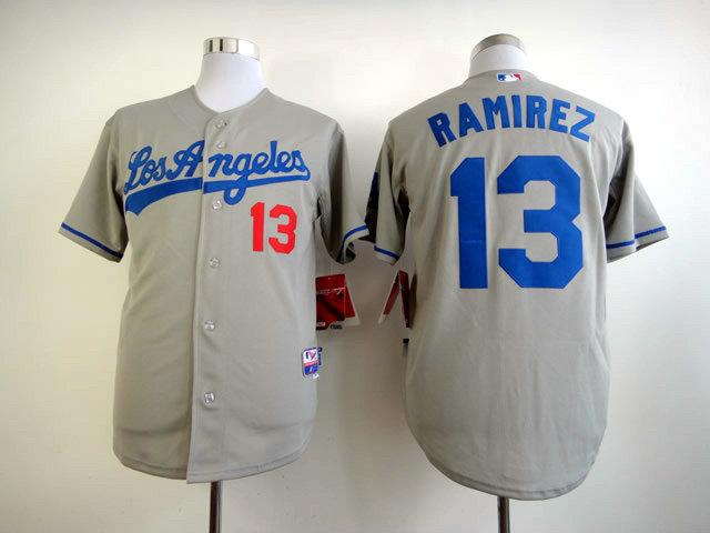 MLB Los Angeles Dodgers 13 Hanley Ramirez Gray Grey Jersey