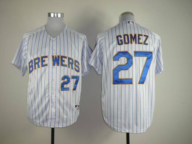 MLB Milwaukee Brewers 27 Carlos White Blue Pinstripe Cool BaseGomez