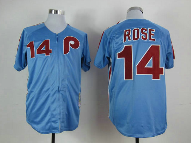 MLB Philadelphia Phillies 14 Pete Rose Blue 1980 Throwback