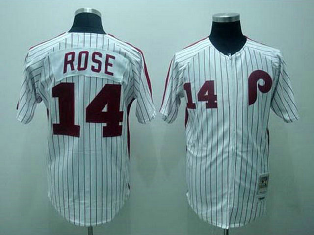 MLB Philadelphia Phillies 14 Pete Rose White 1976 Throwback