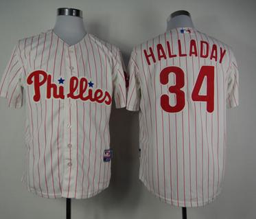 MLB Philadelphia Phillies 34 Roy Halladay White Red Strip Jerseys