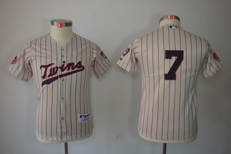 Youth MLB Jerseys Minnesota Twins 7 Joe Mauer Cream