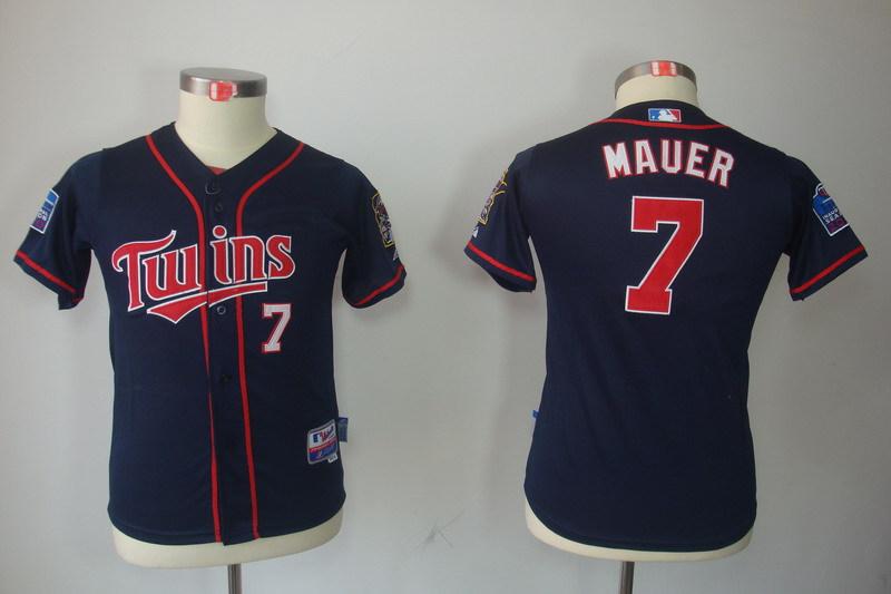 Youth MLB Jerseys Minnesota Twins 7 Joe Mauer Dark Blue