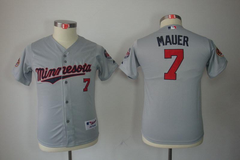 Youth MLB Jerseys Minnesota Twins 7 Joe Mauer Gray Grey