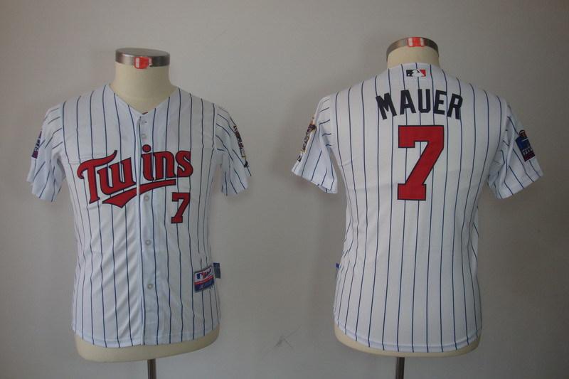 Youth MLB Jerseys Minnesota Twins 7 Joe Mauer White