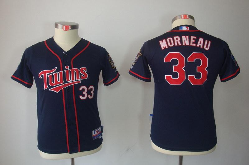 Youth MLB Jerseys Minnesota Twins 33 Justin Morneau Dark Blue