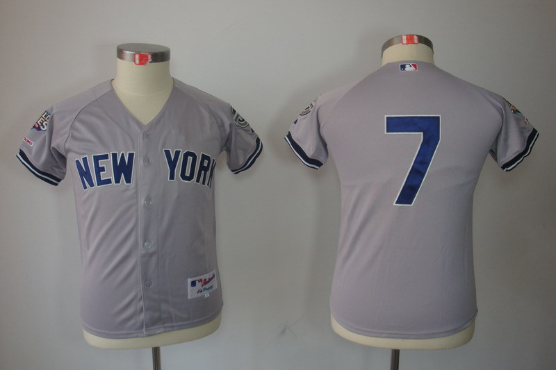 Youth MLB Jerseys New York Yankees 7 Mickey Mantle Grey