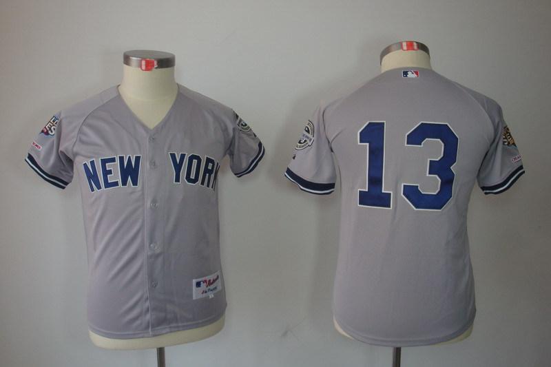 Youth MLB Jerseys New York Yankees 13 Alex Rodriguez Gray Grey