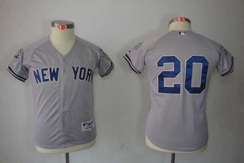 Youth MLB Jerseys New York Yankees 20 Jorge Posada Gray Grey