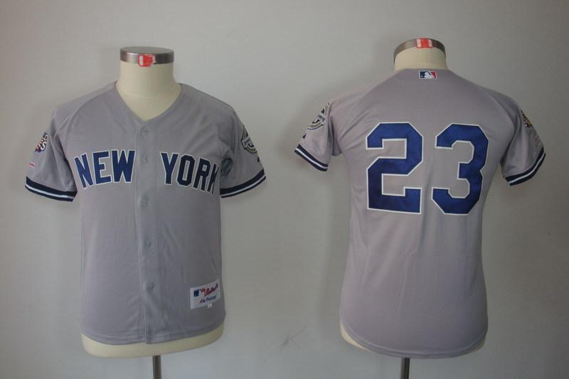 Youth MLB Jerseys New York Yankees 23 Don Mattingly Grey