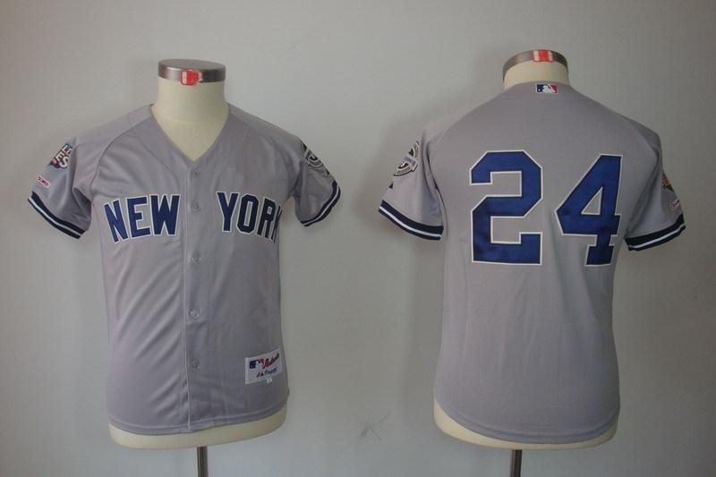Youth MLB Jerseys New York Yankees 24 Robinson Cano Gray Grey