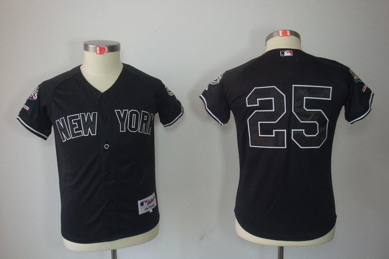 Youth MLB Jerseys New York Yankees 25 Mark Teixeira Black