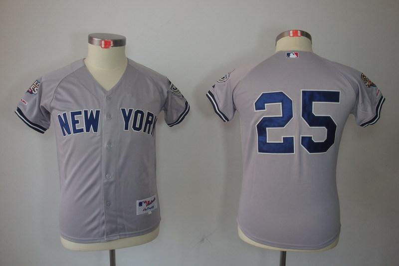 Youth MLB Jerseys New York Yankees 25 Mark Teixeira Grey Gray