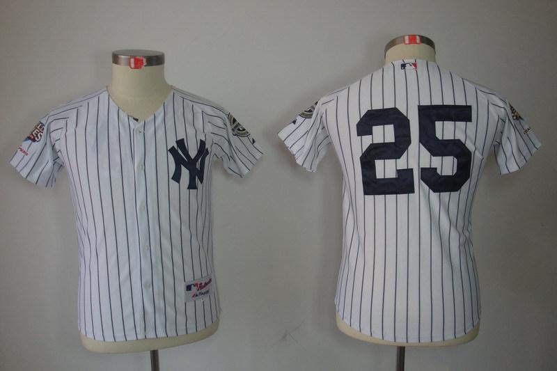 Youth MLB Jerseys New York Yankees 25 Mark Teixeira White