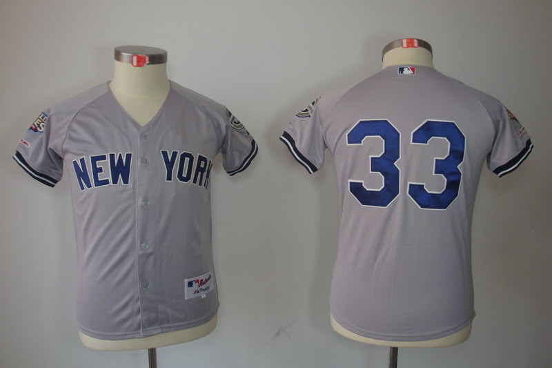 Youth MLB Jerseys New York Yankees 33 Nick Swisher Grey Gray