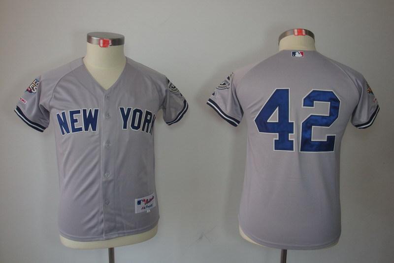 Youth MLB Jerseys New York Yankees 42 Mariano Rivera Grey