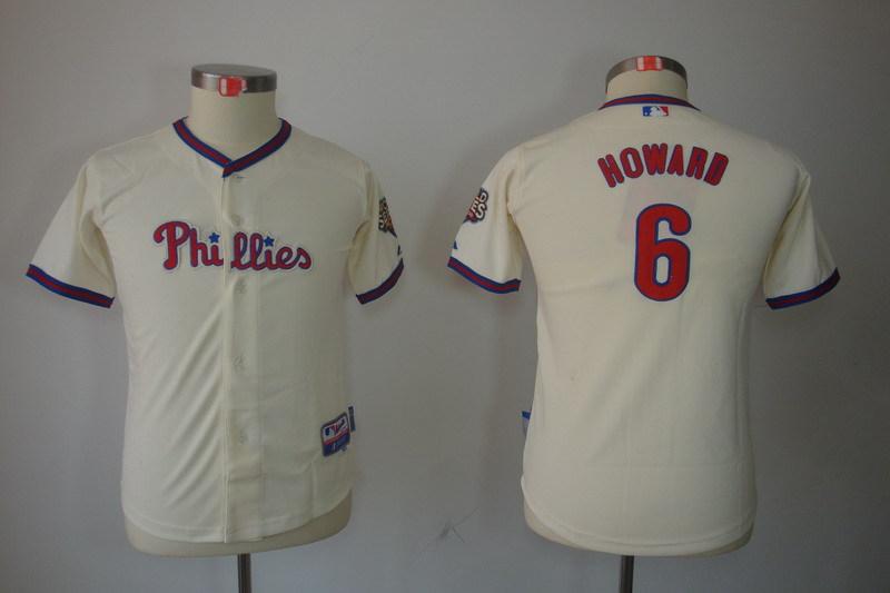 Youth MLB Jerseys Philadelphia Phillies 6 Ryan Howard Cream