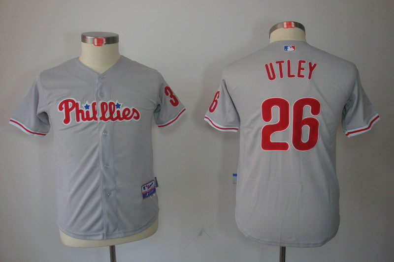 Youth MLB Jerseys Philadelphia Phillies 26 Chase Utley Gray Grey