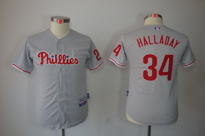 Youth MLB Jerseys Philadelphia Phillies 34 Roy Halladay Gray Grey
