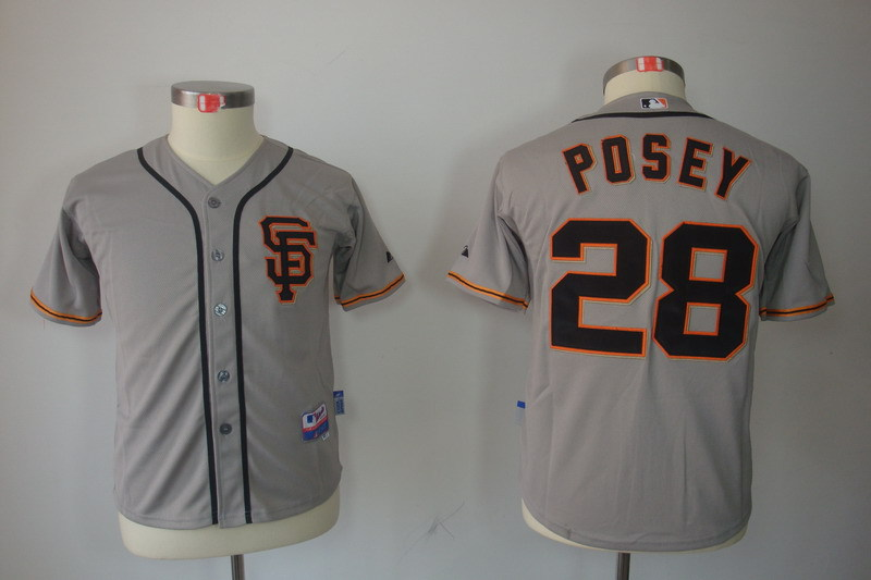 Youth MLB Jerseys San Francisco Giants 28 Buster Posey Grey