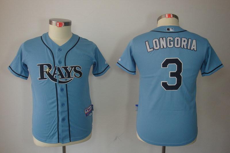 Youth MLB Jerseys Tampa Bay Rays 3 Evan Longoria Light Blue
