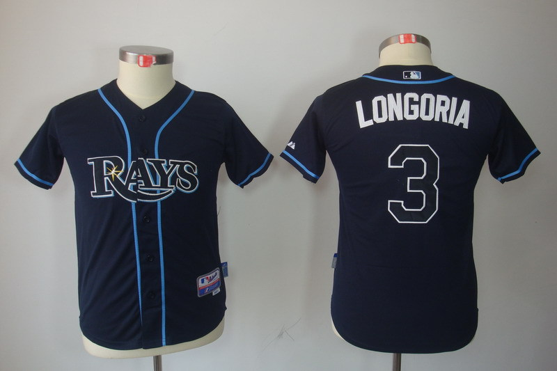 Youth MLB Jerseys Tampa Bay Rays 3 Evan Longoria Navy Blue