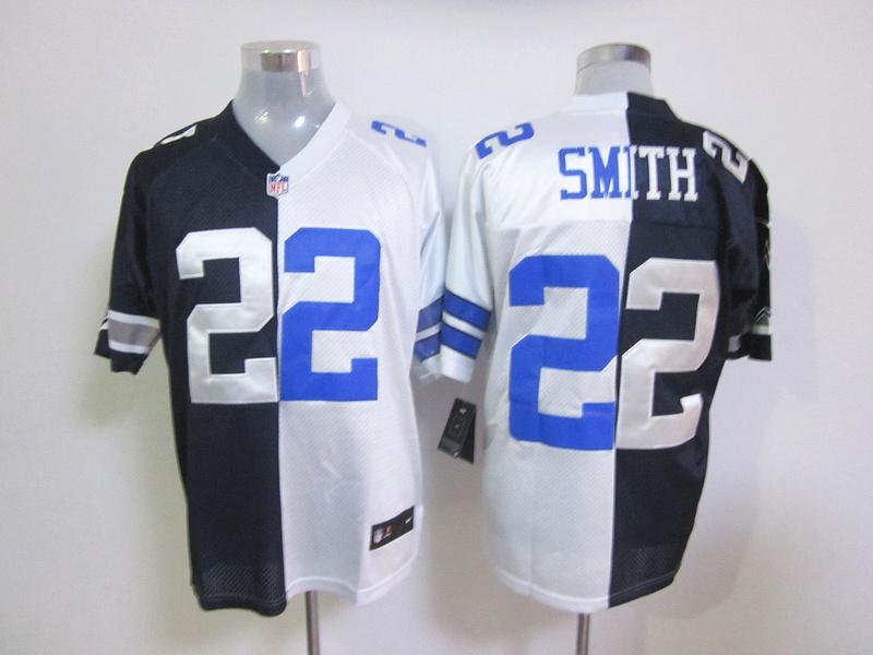 Dallas Cowboys 22 Emmitt Smith White And Black NFL Nike Elite Split Jersey