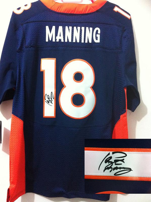 Denver Broncos 18 Peyton Manning NFL Nike Elite With player signed Blue Jerseys