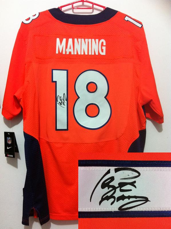 Denver Broncos 18 Peyton Manning NFL Nike Elite With player signed Orange Jerseys