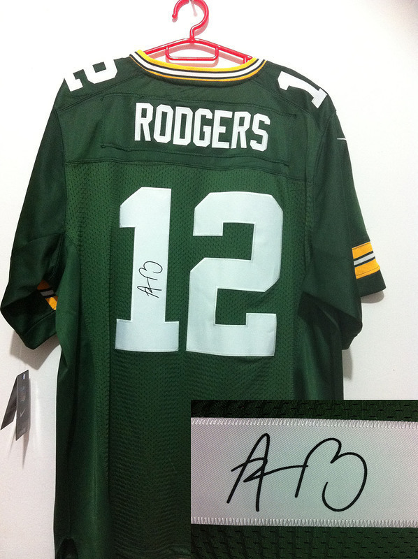Green Bay Packers 12 Aaron Rodgers NFL Nike Elite With player signed Green Jerseys