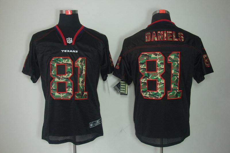Houston Texans 81 Daniels Black with Nike Elite Camo Fashion Jersey