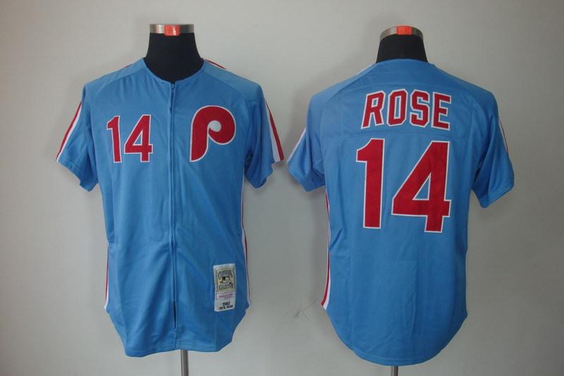 MLB Philadelphia Phillies 14 Pete Rose Blue Cool Base Jersey