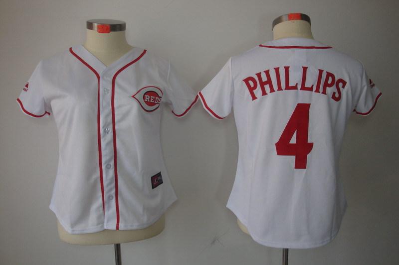 MLB Womens Cincinnati Reds 4 Brandon Phillips White Jersey