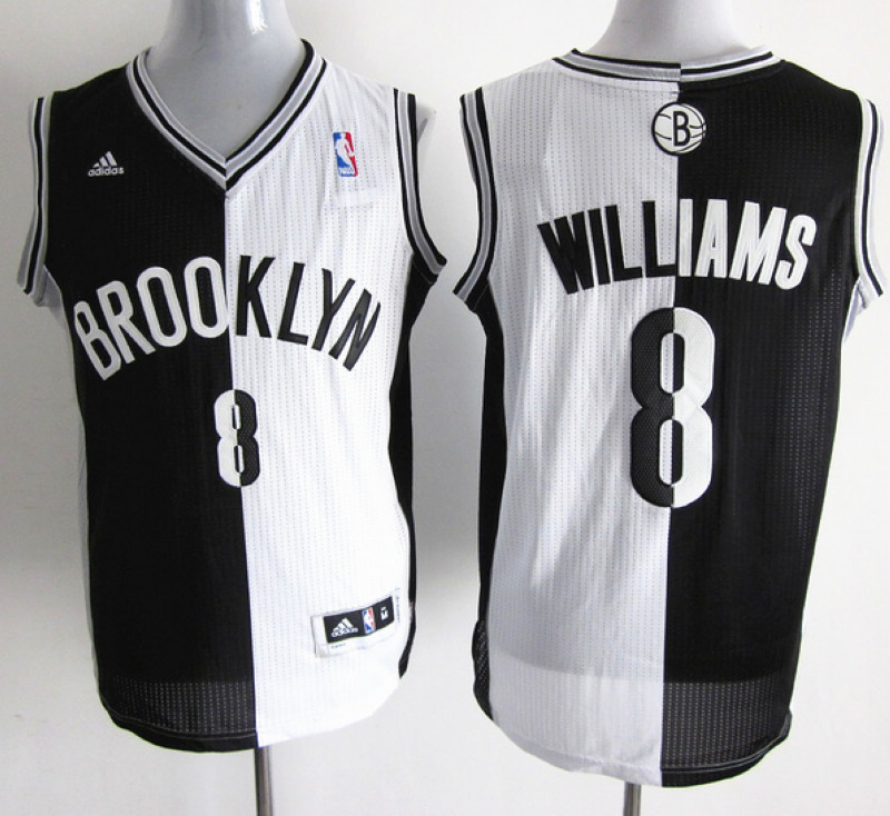 NBA Brooklyn Nets 8 Deron Williams White and black Men's Split jerseys