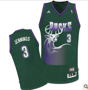 NBA Milwaukee Bucks 3 Brandon Jennings Green Jersey