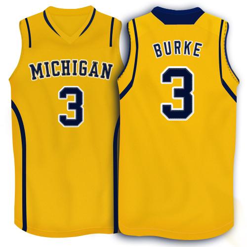 NBA NCAA Adidas Michigan Wolverines 3 Trey Burke Yellow 10 Patch Basketball Jerseys