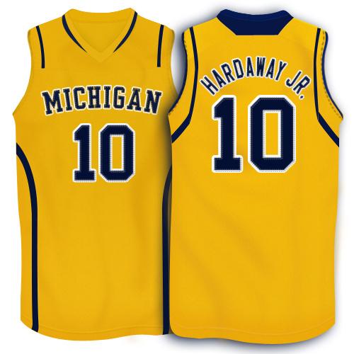 NBA NCAA Adidas Michigan Wolverines 10 Tim Hardaway Jr.Yellow Basketball Jerseys