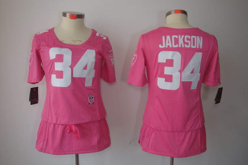 Womens Oakland Raiders 34 Bo Jackson Pink Nike Breast Cancer Awareness Jerseys