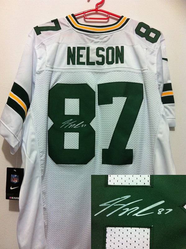Green Bay Packers 87 Nelson White Nike Elite With player signed Jersey