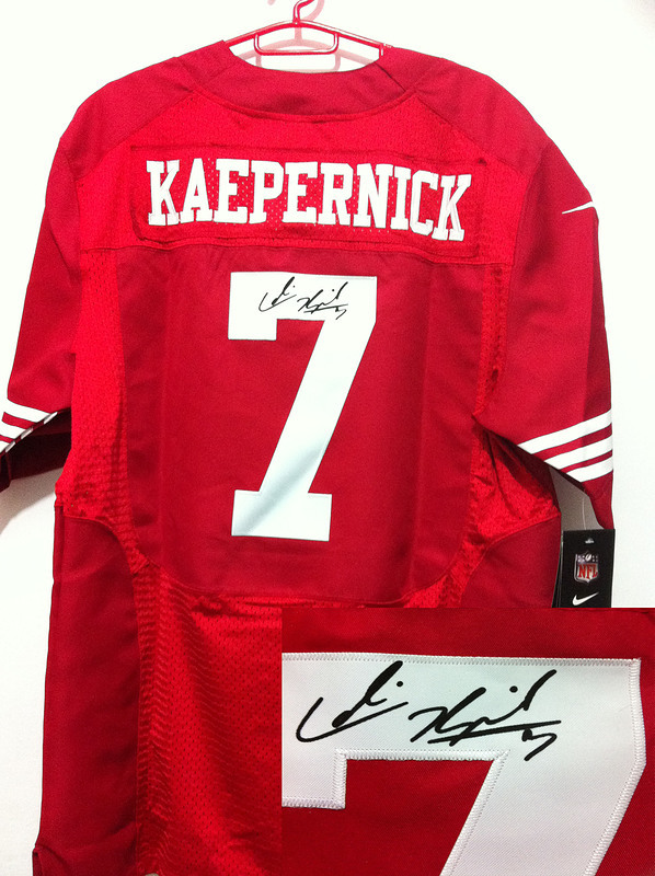 San Francisco 49ers 7 Kaepernick Red Nike Elite With player signed Jersey