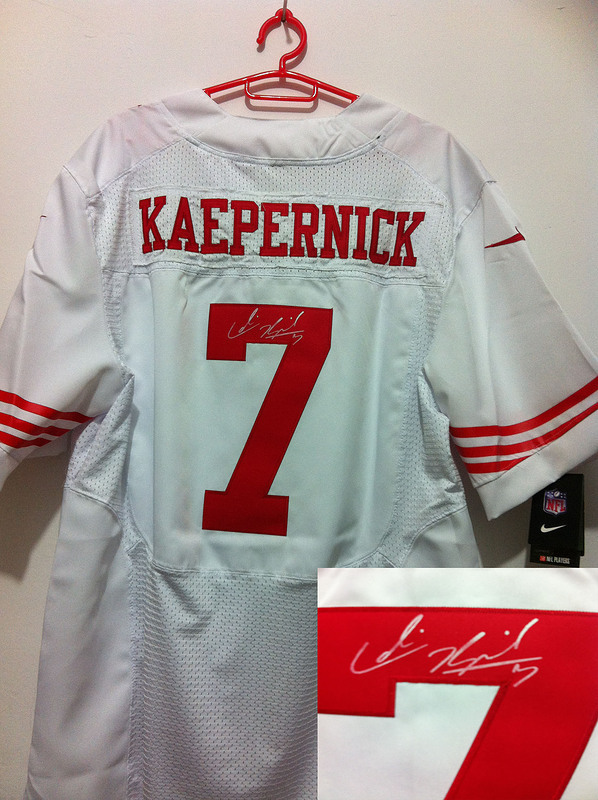 San Francisco 49ers 7 Kaepernick White Nike Elite With player signed Jersey