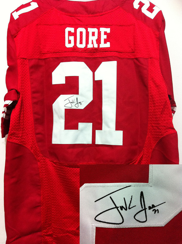 San Francisco 49ers 21 Gore Red Nike Elite With player signed Jersey