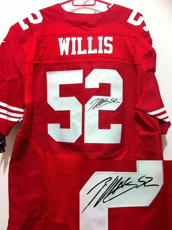 San Francisco 49ers 52 Willis Red Nike Elite With player signed Jersey
