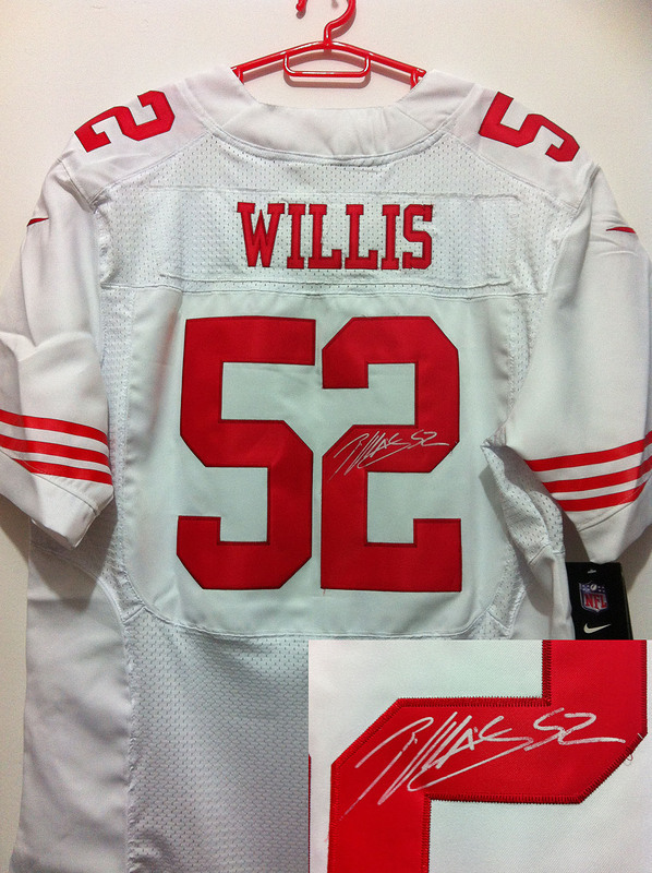 San Francisco 49ers 52 Willis White Nike Elite With player signed Jersey