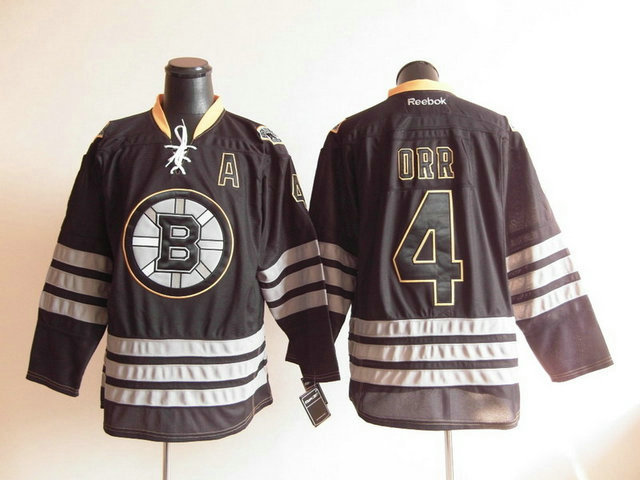 NHL Jerseys Boston Bruins 4 Bobby Orr Black Ice Premier