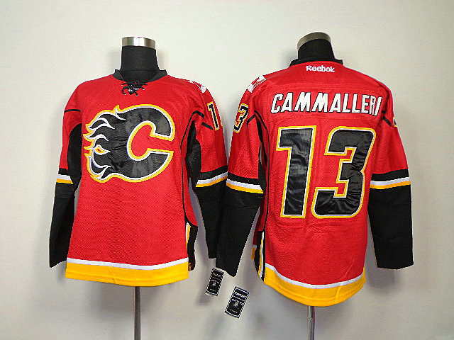 NHL Calgary Flames 13 Cammalleri Red With Black Number Jersey