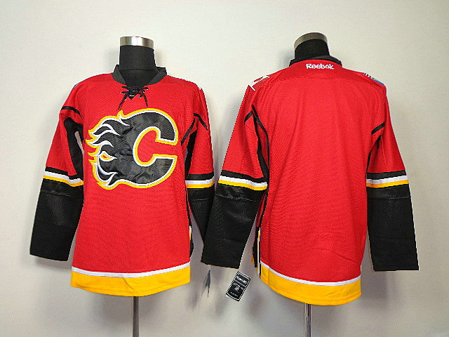 NHL Calgary Flames Blank Red With Black Number Jersey